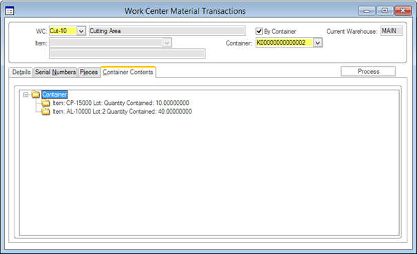 Work Center Material Transactions